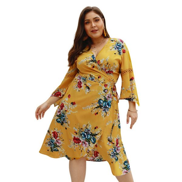 Women Floral Print Wrapped Summer Dress