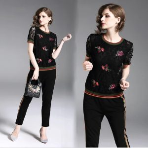 Women Black Lace Embroidered 2 Pieces Set