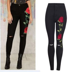 Embroidered Stretch Skinny Jeans