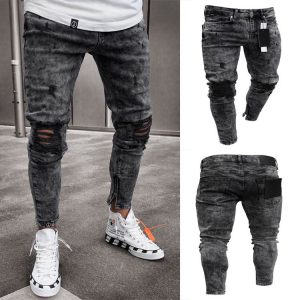 Men Stretch Ripped Skinny Jeans
