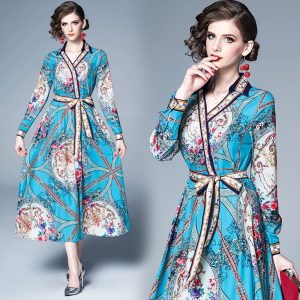 Women Fashion Print Maxi Dress