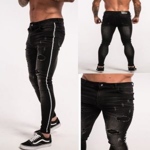 Men Stretch Strip Ripped Skinny Jeans