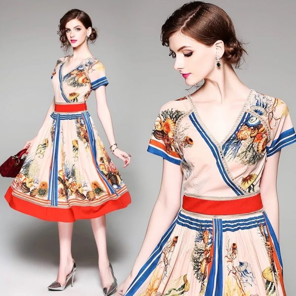 Women V-Neck Fashion Print Dress