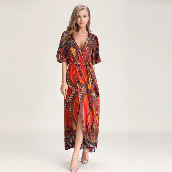 V-Neck Fashion Maxi Print Dress
