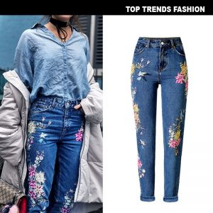 3D Embroidered Denim Jeans