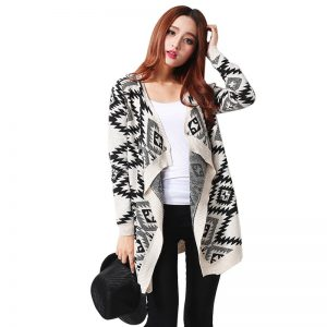Black White Fashion Print Women Cardigan